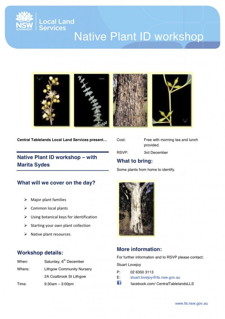 2014.11.28 Native Plant ID Workshop Lithgow Flyer